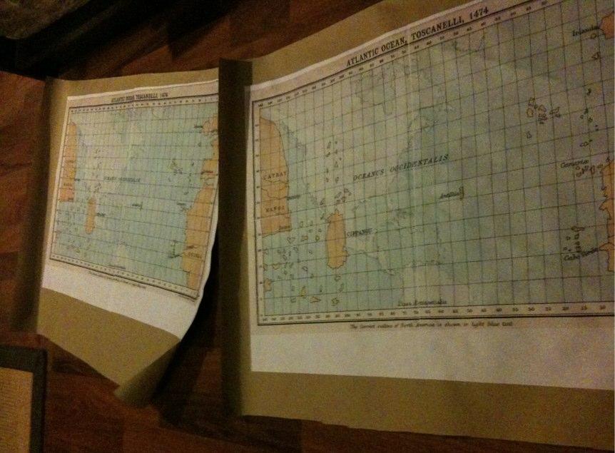 Toscanelli-Karte auf Packpapier
